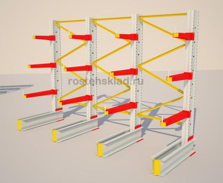 Надежный металлический стеллаж консольного типа